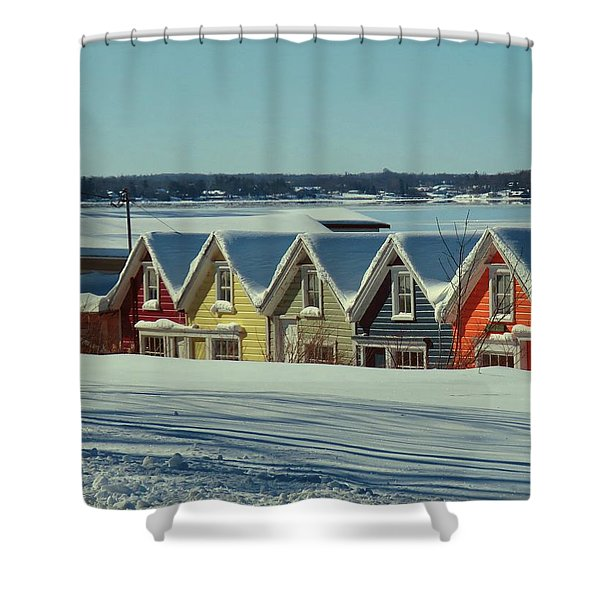 Winter View Ti Park Boathouses Shower Curtain