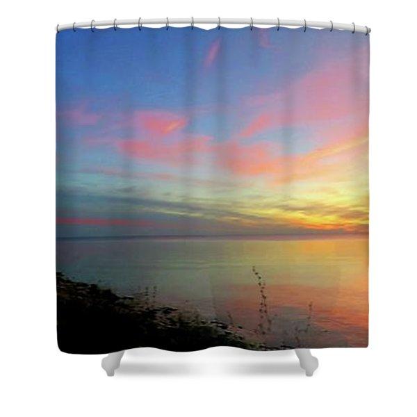 Sunset At Tibbetts Point Light, 2015 Shower Curtain