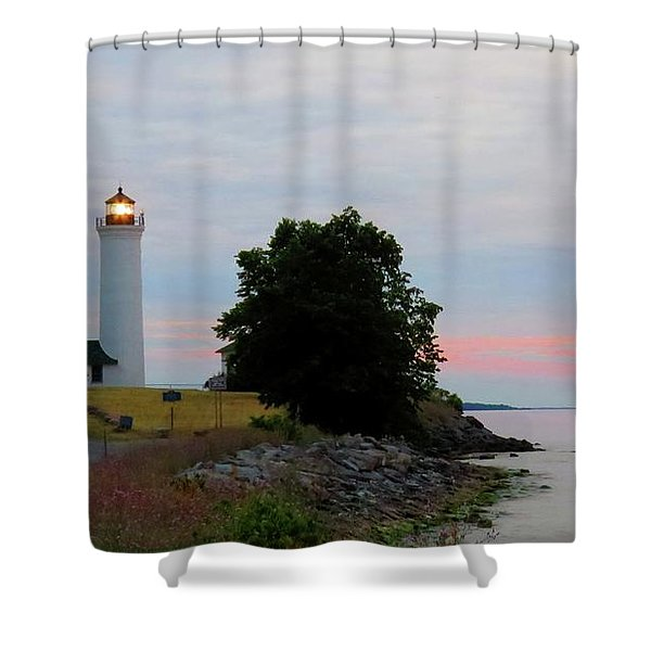 Tibbetts Point Light Sunset Shower Curtain