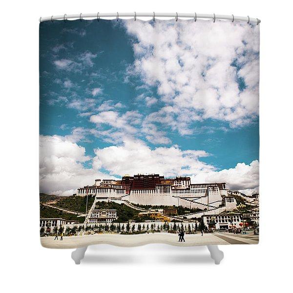 Shower Curtain featuring the photograph Tibet Potala Palace Dalai Lama Home Place. Kailash Yantra.lv 2016  by Raimond Klavins