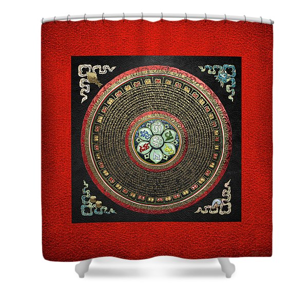 Tibetan Om Mantra Mandala In Gold On Black And Red Shower Curtain