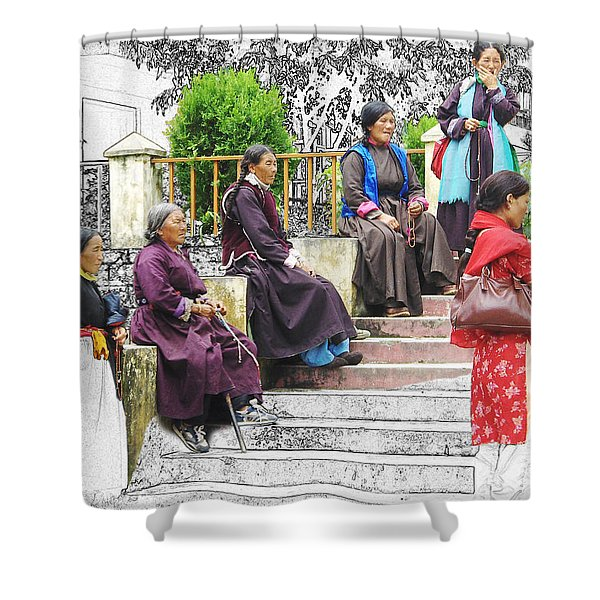 Tibetan Women Waiting Shower Curtain