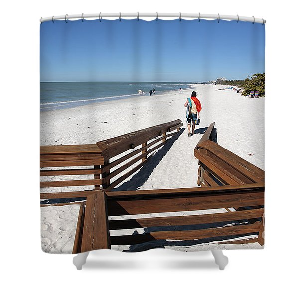 Tide Of Sand Over A Ramp On The Beach In Naples Florida Shower Curtain