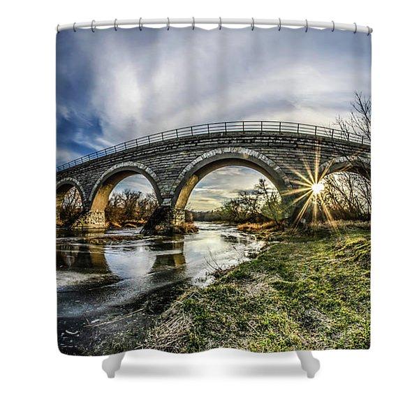 Tiffany Bridge Panorama Shower Curtain