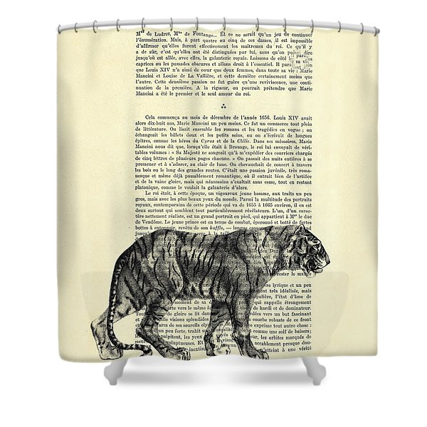 Tiger Black And White Illustration Shower Curtain