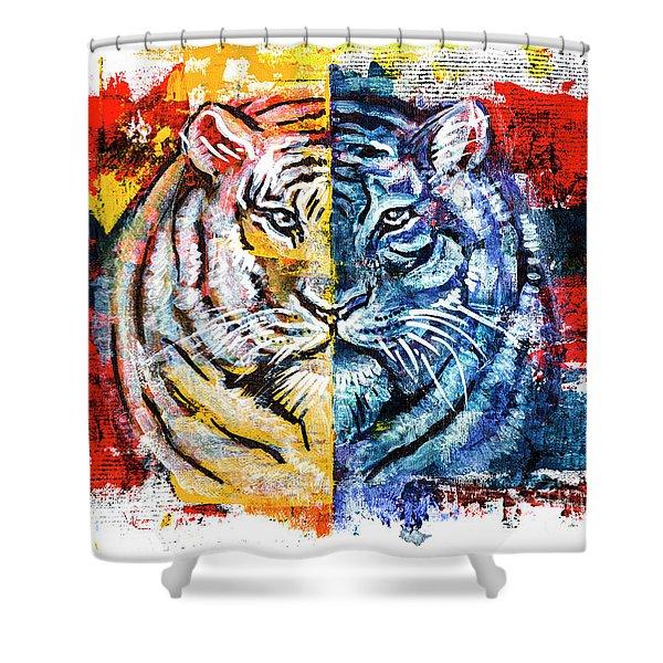 Tiger, Original Acrylic Painting Shower Curtain