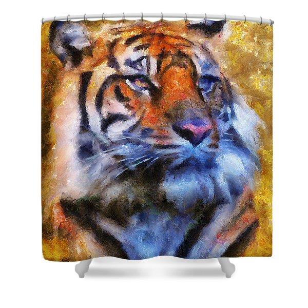 Tiger Portrait Shower Curtain by Jai Johnson