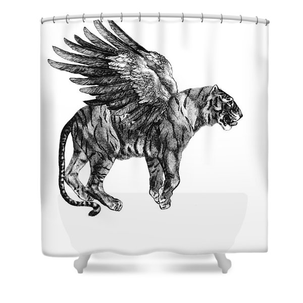 Tiger With Wings, Black And White Illustration Shower Curtain