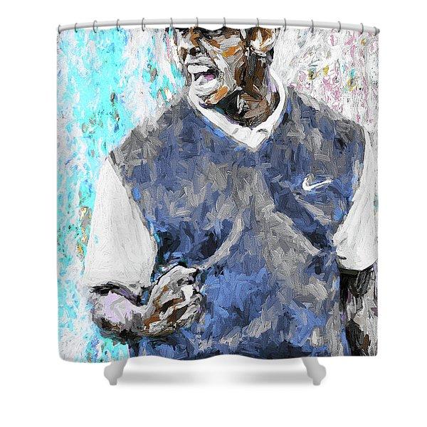 Tiger Woods One Blue Golfer Digital Art Shower Curtain