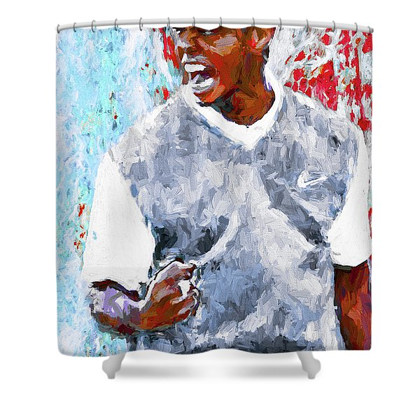 Tiger Woods One Two Red Painting Digital Shower Curtain