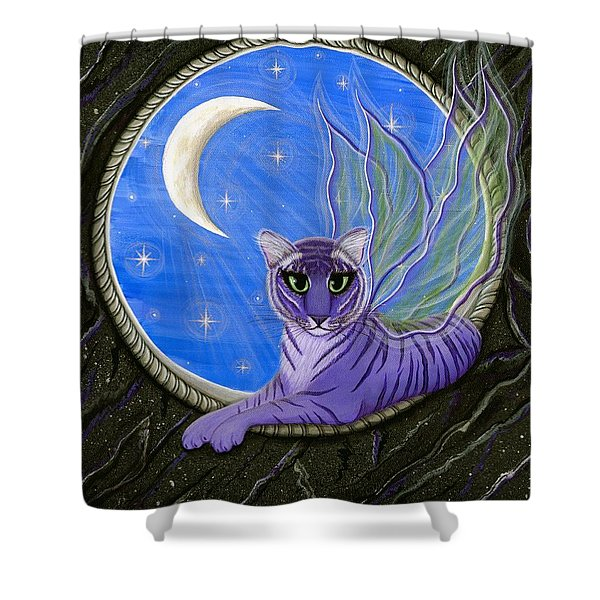 Tigerpixie Purple Tiger Fairy Shower Curtain