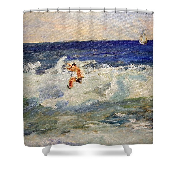 Tightrope Walking The Waves Shower Curtain