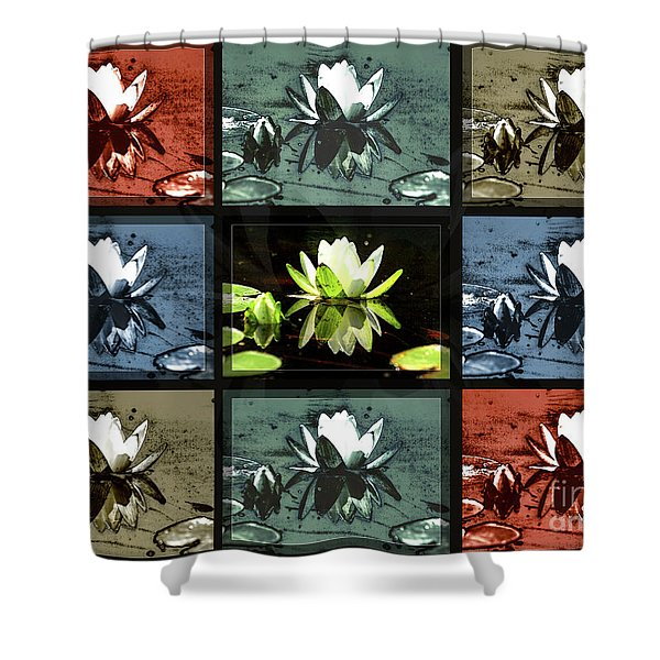 Tiled Water Lillies Shower Curtain