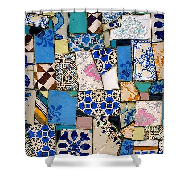 Tiles Fragments Shower Curtain