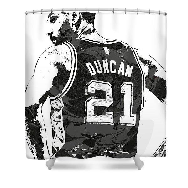 Tim Duncan San Antonio Spurs Pixel Art 2 Shower Curtain