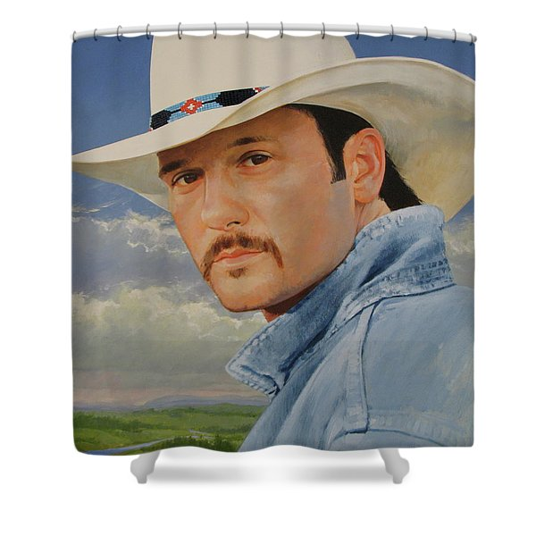 Shower Curtain featuring the painting Tim Mcgraw by Cliff Spohn