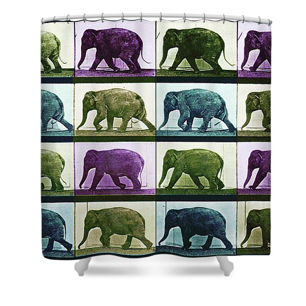 Time Lapse Motion Study Elephant Color Shower Curtain