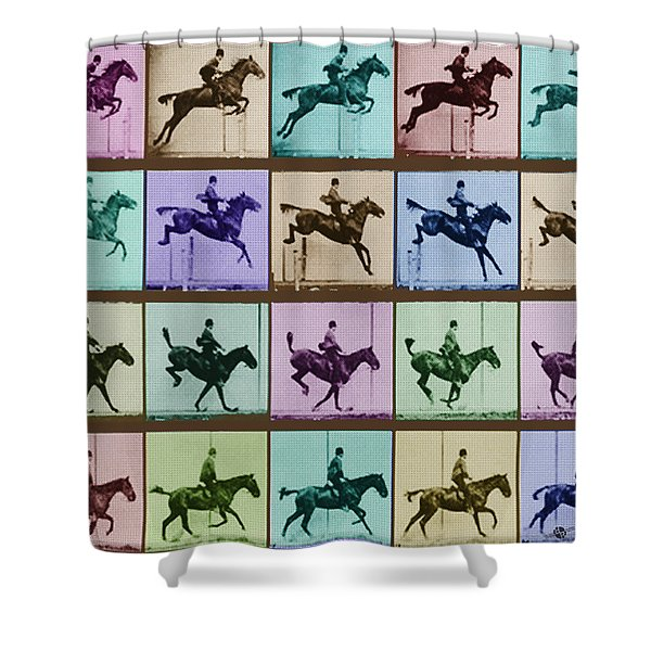 Time Lapse Motion Study Horse And Rider Color Shower Curtain