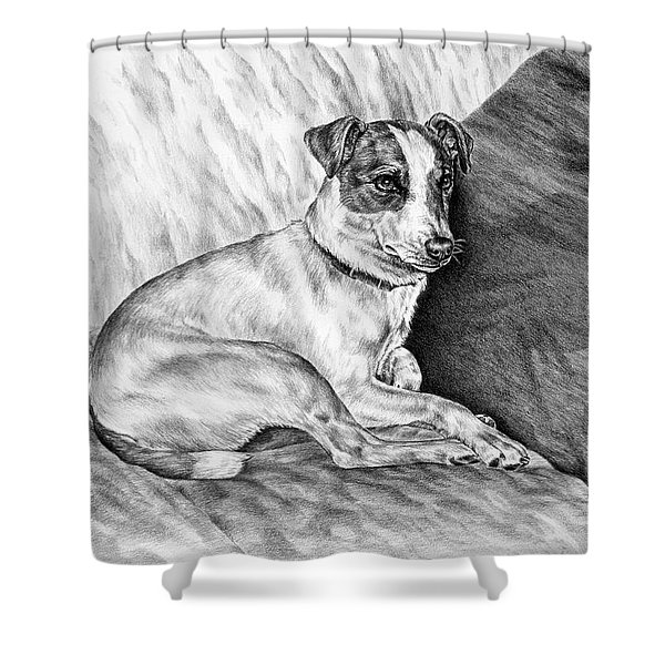 Time Out - Jack Russell Dog Print Shower Curtain