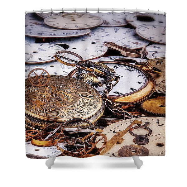 Time Pieces Shower Curtain