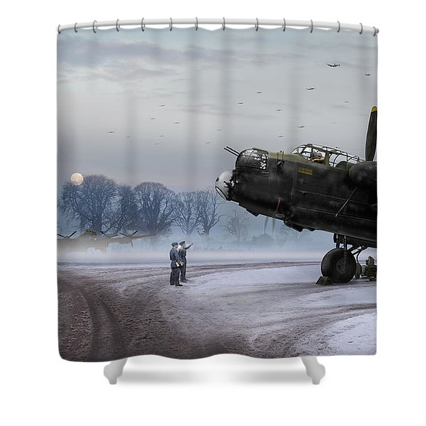 Time To Go - Lancasters On Dispersal Shower Curtain