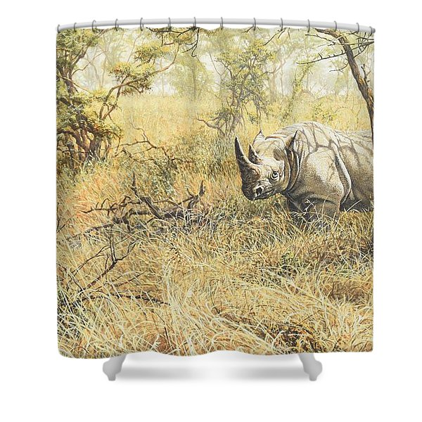 Shower Curtain featuring the painting Time To Move On by Alan M Hunt