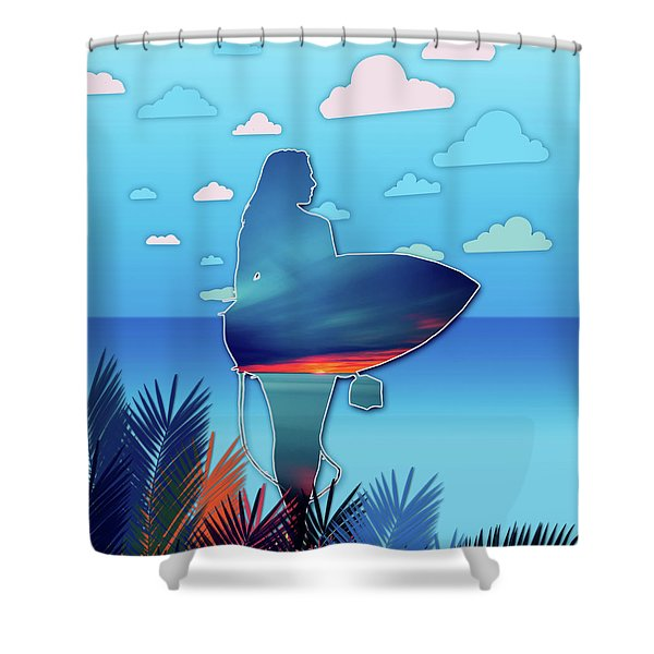 Time To Surf Shower Curtain
