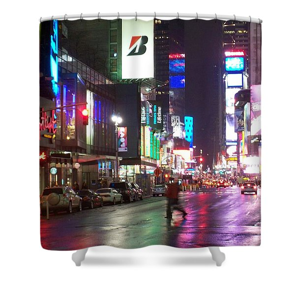 Shower Curtain featuring the photograph Times Square In The Rain 2 by Anita Burgermeister