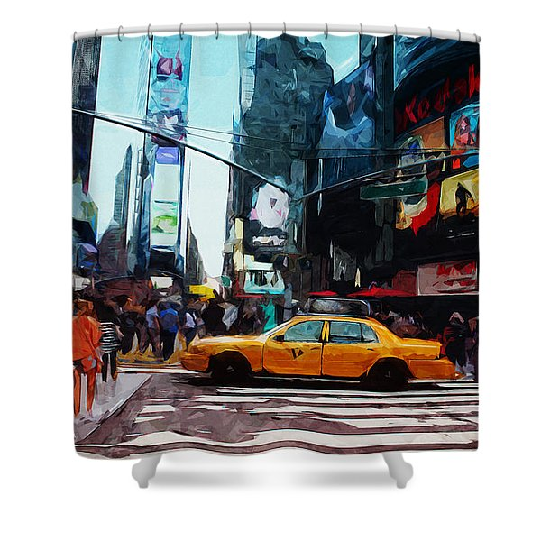 Times Square Taxi- Art By Linda Woods Shower Curtain