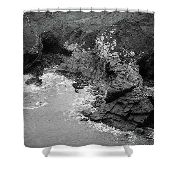 Tintagel Rocks Shower Curtain