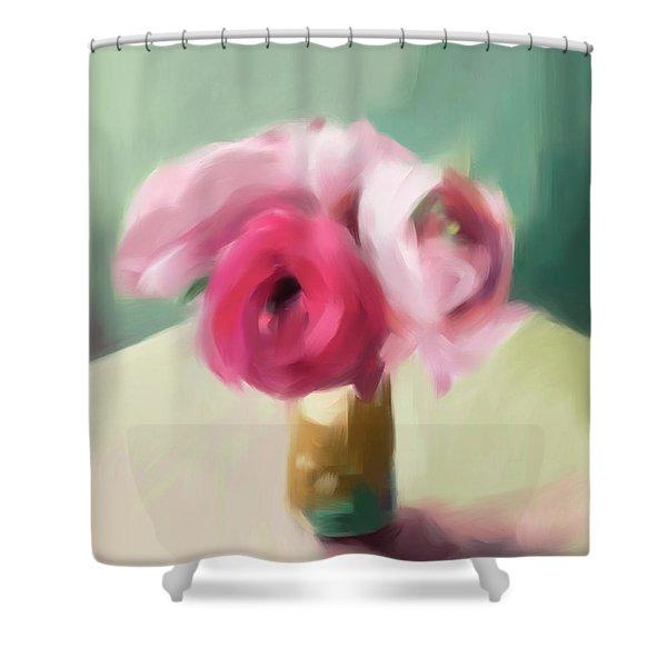 Tiny Pink Ranunculus Floral Art Shower Curtain