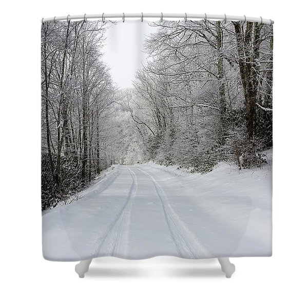 Tire Tracks In Fresh Snow Shower Curtain