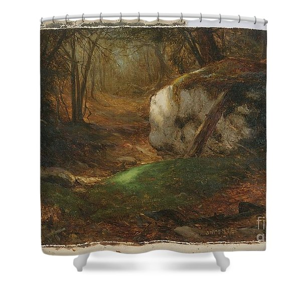 Title Mossy Bank Shower Curtain