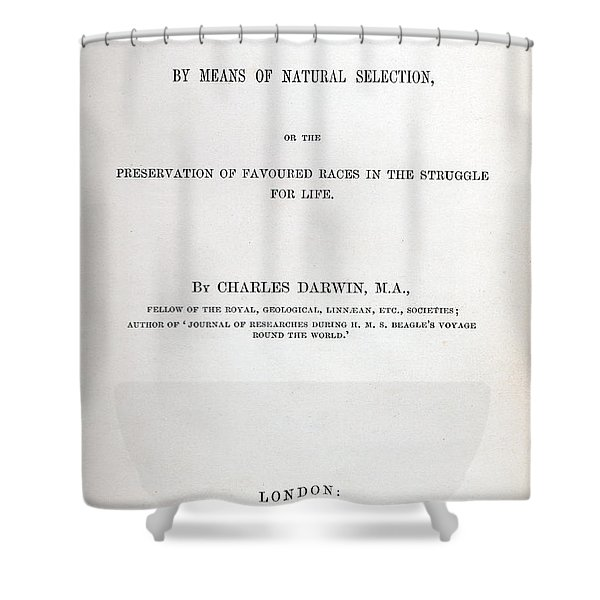 Title Page Of The Origin Of Species By Charles Darwin Shower Curtain