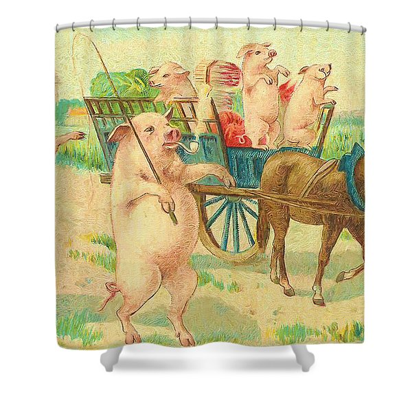 To Market To Market To Buy A Fat Pig 86 - Painting Shower Curtain