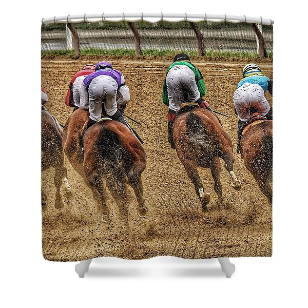 To The Finish Shower Curtain