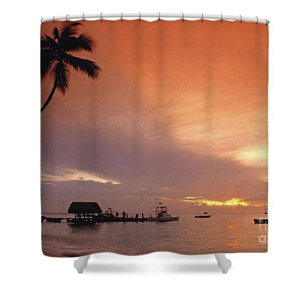 Shower Curtain featuring the photograph Tobago, Pigeon Point Sunset, Caribbean Sea, by Juergen Held