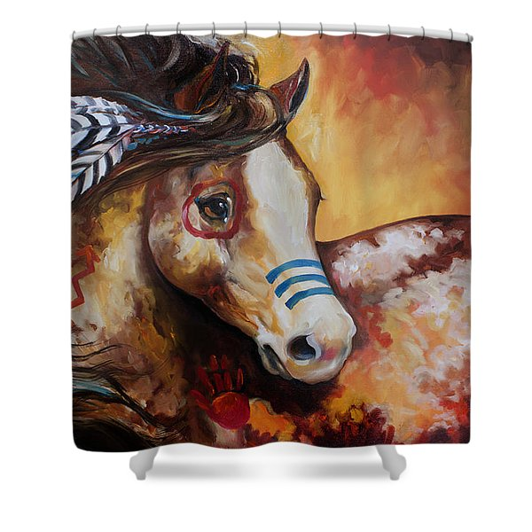 Tobiano Indian War Horse Shower Curtain