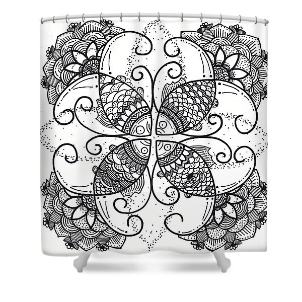 Together We Flourish - Ink Shower Curtain