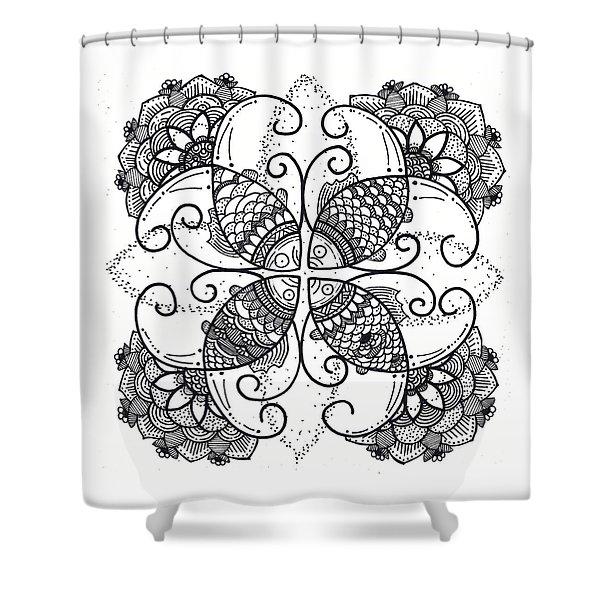 Together We Flourish - Ink Shower Curtain