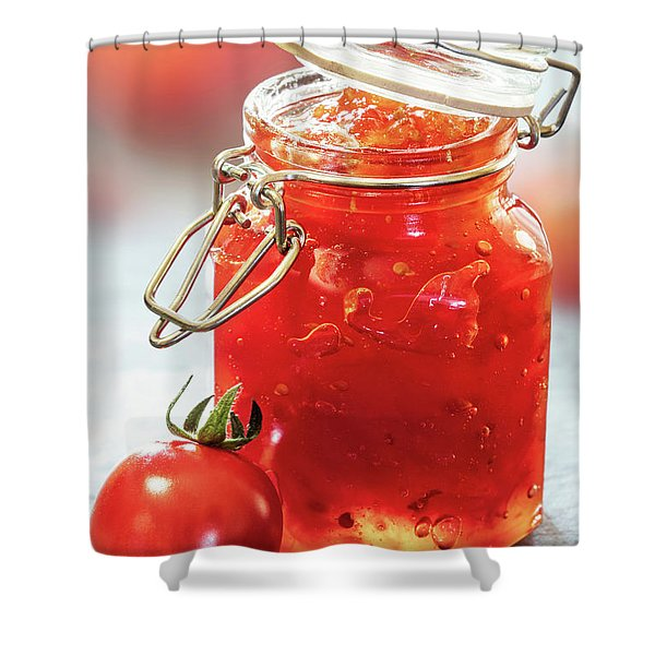 Tomato Jam In Glass Jar Shower Curtain