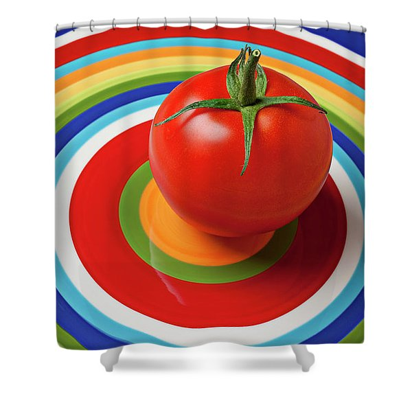Tomato On Plate With Circles Shower Curtain