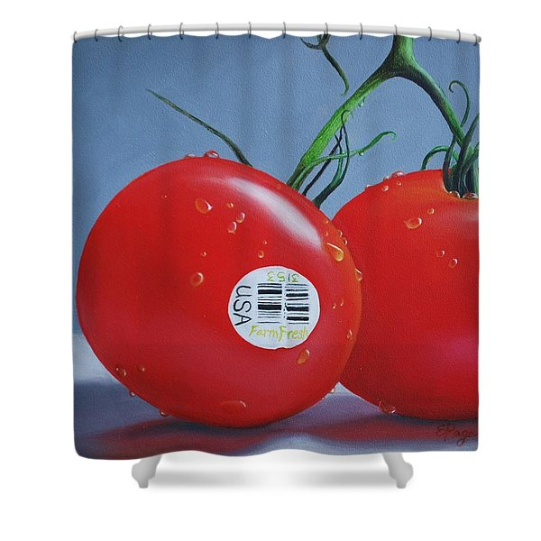 Tomatoes With Sticker Shower Curtain