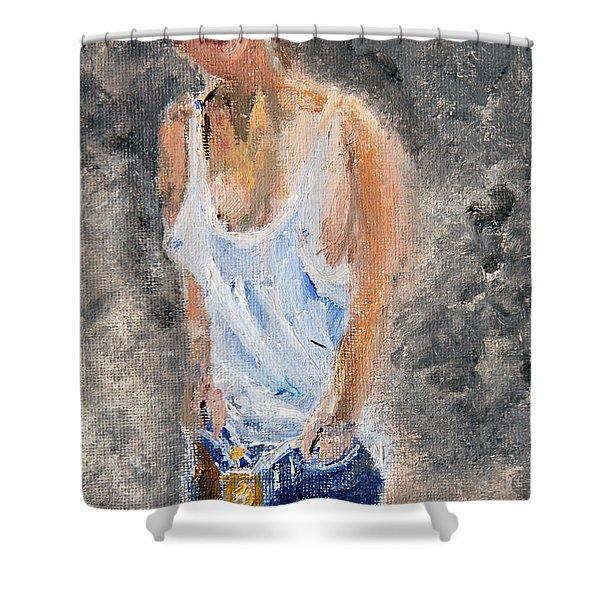 Tomboy In Bluejeans Shower Curtain