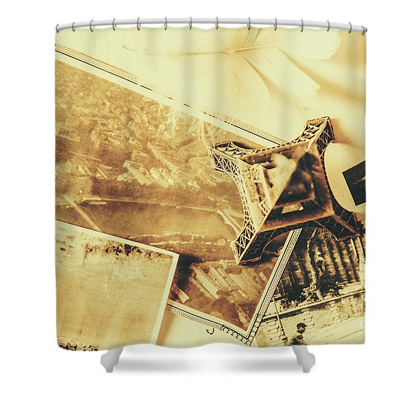 Toned Image Of Eiffel Tower And Photographs On Table Shower Curtain