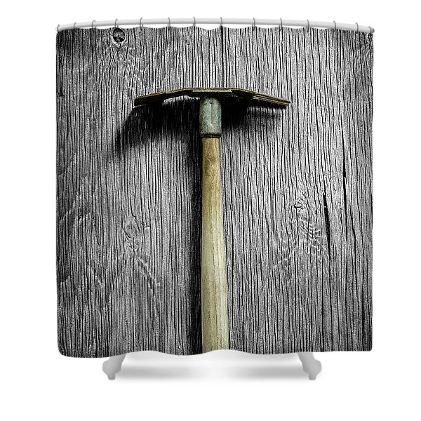 Tools On Wood 16 On Bw Shower Curtain