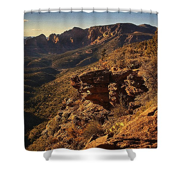 Top Of The Hill Txt Shower Curtain