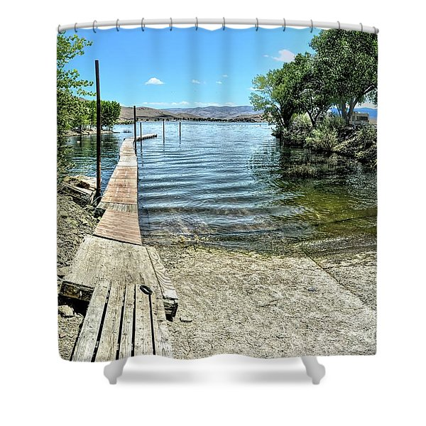 Topaz Landing Boat Launch Shower Curtain