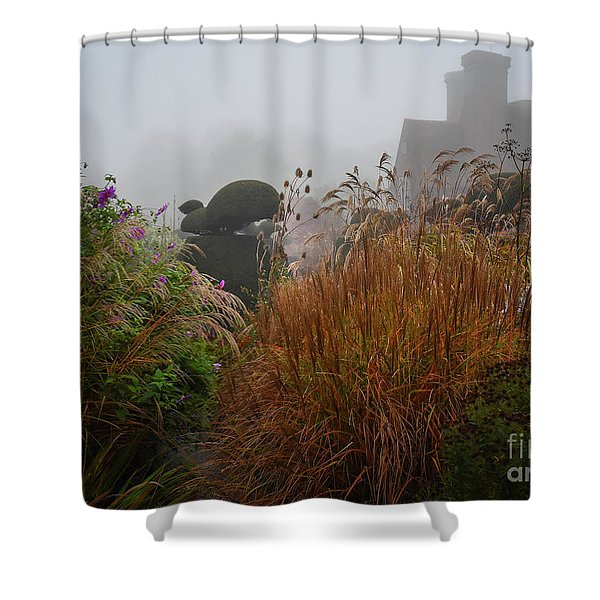 Topiary Peacocks In The Autumn Mist, Great Dixter 2 Shower Curtain