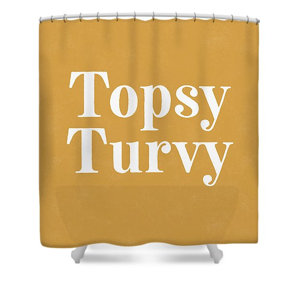 Topsy Turvy Gold And White- Art By Linda Woods Shower Curtain
